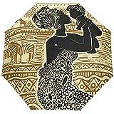 Vintage Jirafa Cebra Mujer Madre Bebé Auto Abrir Cerrar Paraguas Anti UV Plegable Paraguas automático Compacto