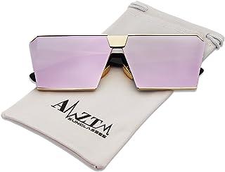 AMZTM Square Oversized Polarized Sunglasses Mirrored Reflective REVO Lens