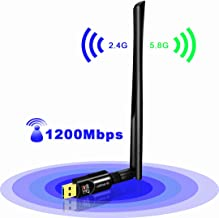 USBNOVEL USB WiFi Adapter 1200Mbps, USB 3.0 Wireless Network WiFi Dongle with 5dBi Antenna for PC/Desktop/Laptop/Mac, Dual Band 2.4G/5G 802.11ac,Support Windows 10/8/8.1/7/Vista/XP, Mac10.6-10.14