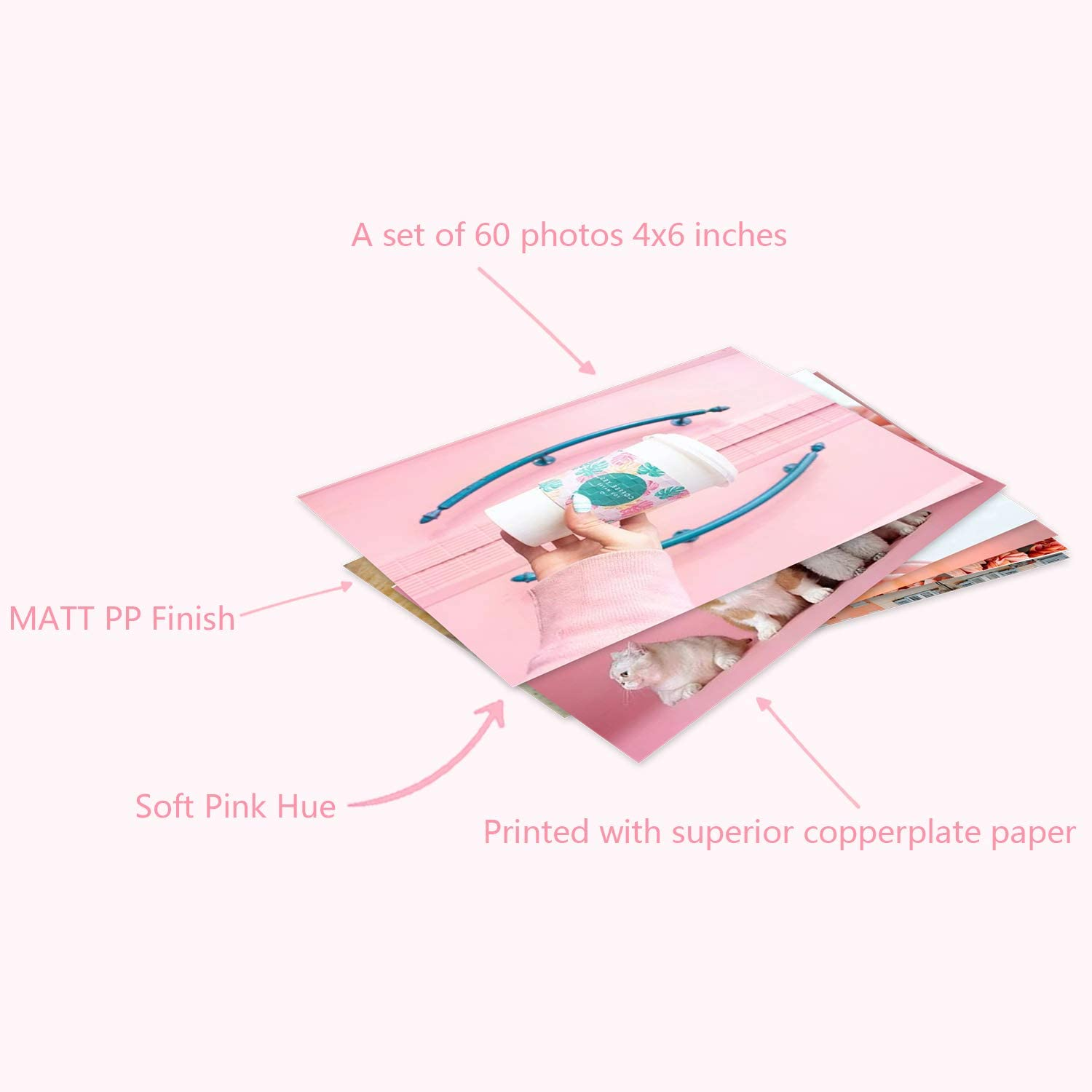 Wall Color Room Decor Small Print Poster Aesthetic Photo Collage Kit Pink 4x6 inches, Pink Set of 60 Aesthetic Pictures for Bedroom Wall Aesthetic Pictures Decor Collage Kit