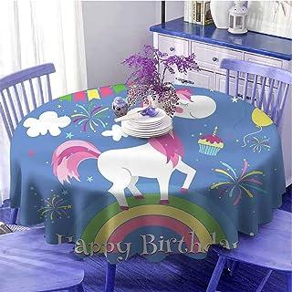 Serviette de table ronde douce avec citation de joyeux anniversaire avec conte de fées animales marches sur arc-en-ciel av...