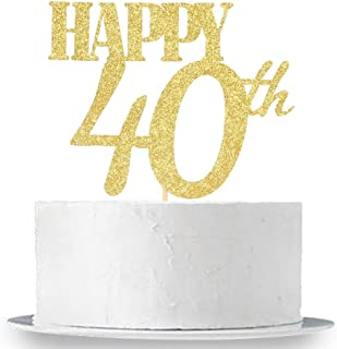 Happy 40th Cake Topper, Gold Glitter 40th Birthday Wedding Anniversary Party Cake Topper Decoration Sign