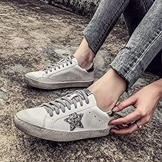 New Women Casual Shoes Glitter Leather Do Old Dirty Shoes Mixed Color Women Sequins Star Golden Fleeces Trainers(Gold,8)