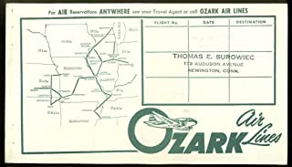 Ozark Air Lines airline ticket wrapper wallet ca 1950s