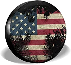Car Tire Cover Sunscreen Protective Cover Bald Eagle American Flag Water Proof Universal Spare Wheel Tire Cover Fit for Trailer, RV, SUV and Various Vehicles 14