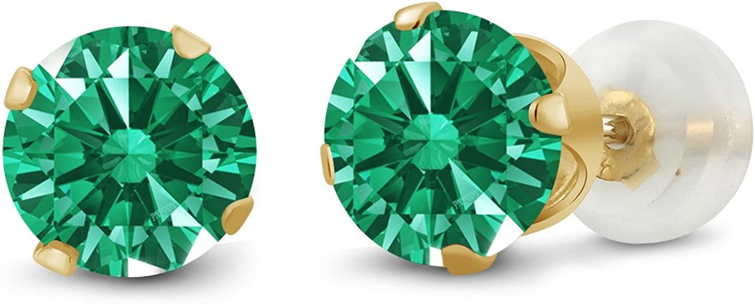1.68 Ct Round 6mm Green Swarovski Zirconia 10K Yellow gold Stud Earrings