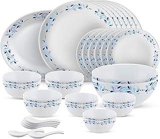 Larah by Borosil - Moon Series, Skyleaf 33 Pieces Opalware Dinner Set, White