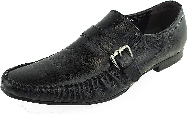 Men's Dress shoes Italian Casual Moccasin Moc Toe (color   Black, Size   7.5 UK)
