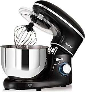 COSTWAY Stand Mixer, 6.3-Qt 660W 6-Speed Electric Mixer with Stainless Steel Bowl, Tilt-Head Food Mixer with Dough Hook, Beater, Whisk (Black)
