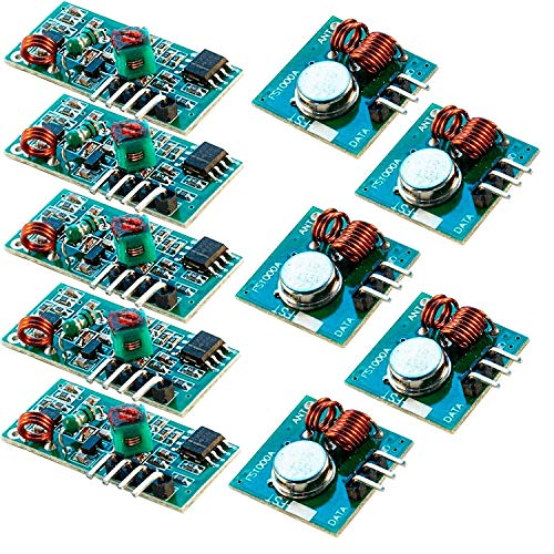 AZDelivery 5 x Wireless Transmitter and Receiver 433 MHz Module Set for Arduino and Raspberry Pi including eBook