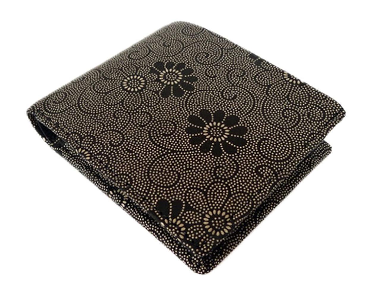 にはまって相互接続学生印傳屋 印伝 二つ折り財布 [2006 黒×白 菊]