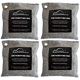 Air Purifier Bags Bamboo Charcoal (4 Pack) Bamboo Charcoal Air Purifying Bag - Odor Absorbing Bags - Activated Charcoal Odor Absorber- Odor Eliminator Charcoal- Closet Air Freshener, Car Air Freshener