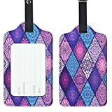 Lizimandu PU Leather Luggage Tags Suitcase Labels Bag Travel Accessories - Set of 2(Diamond_Bohemia)