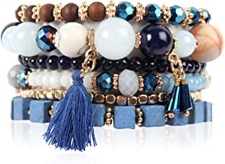 Bead Multi Layer Versatile Statement Bracelets - Stackable Beaded Strand Stretch Bangles Sparkly Crystal, Tassel Charm