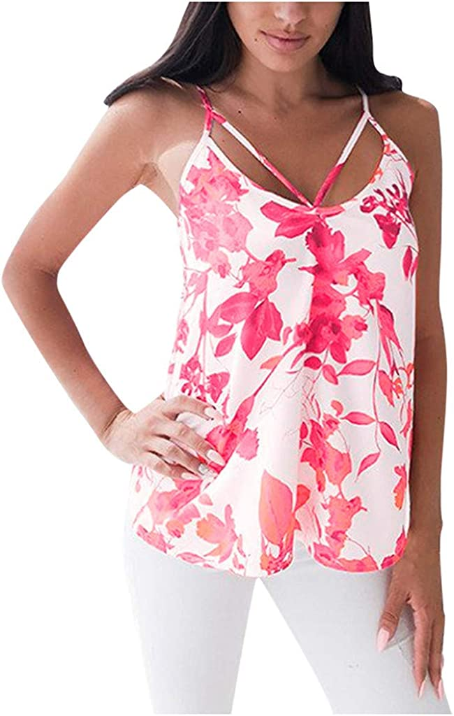 Women Sexy Sleevless V-Neck Floral Spaghetti Strap Shirts Casual Fashion Loose Backless Cami Tank Tops Blouse