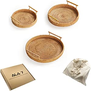 ALA7 Rattan Woven Bread Baskets, Round Serving Tray with Handles for Bread Fruit Vegetables, Restaurant Serving& Tabletop Display Basket Decor& Bathroom Storage (3 Size)