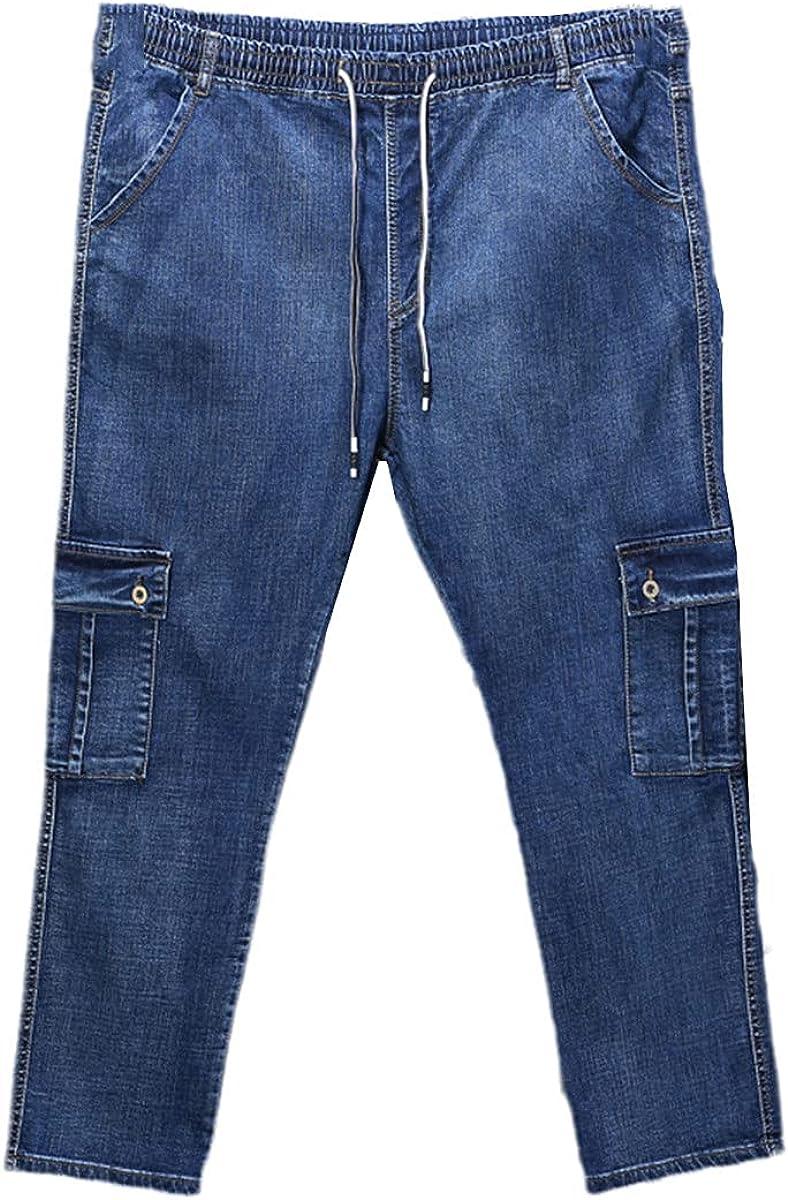 CACLSL Men's High Waist Jeans Straight Leg Large Size Men's Black Jeans Side Multi-Pocket Blue Loose Elastic Band Pants
