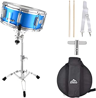 EASTROCK Snare Drum Set 14X5.5inch for Students,Beginners with Gig Bag, Sticks, Stand, Drum Keys, Blue