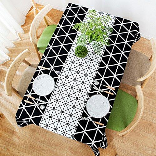 Nappe de table Nappe à carreaux noir et blanc hôtel rectangulaire rembourré rides motifs géométriques nappes ( Couleur : A , taille : 140*220cm )