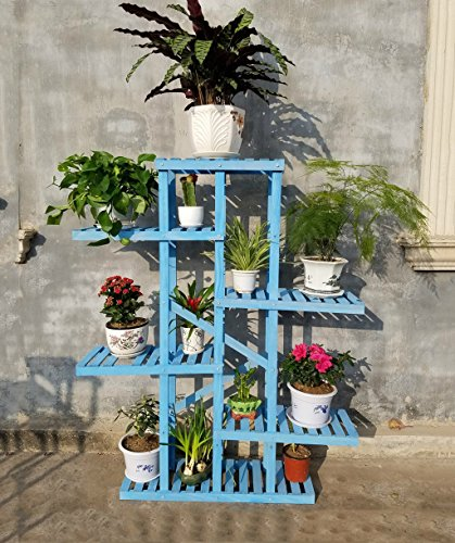 ZENGAI Porte-fleurs en bois massif Boîte à fleurs en intérieur Ensemble en céramique Ensemble d'étalage en pot de fleur, 3 couleurs, 43 * 35 * 100 cm (Couleur : Bleu, taille : 115*140cm)