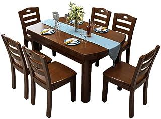 Table à Manger Moderne Minimaliste Salle à Manger en Bois Massif Table Seating Combinaison De Meubles en Chêne Brown-1 Tab...