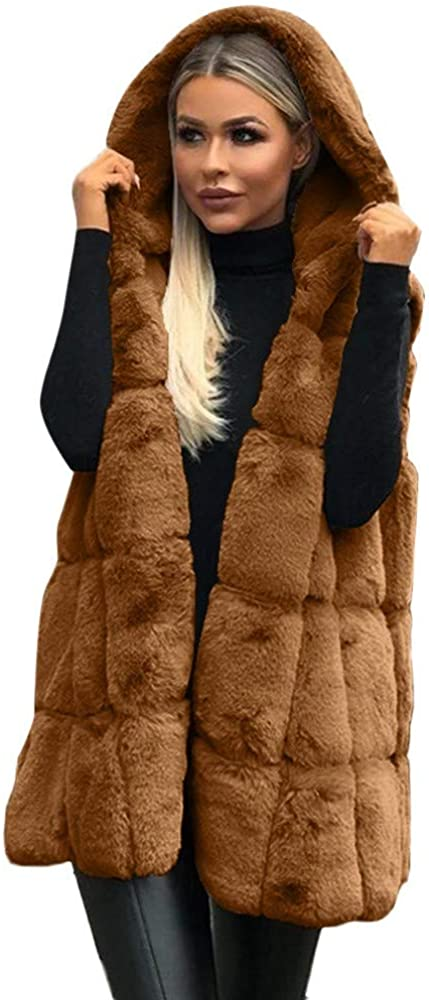 Mikey Store Puffer Vest Wool Coat Women Sleeveless Hooded Coat Solid Color Plus Size Warm Long Cover Outwear