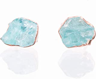 Raw Crystal Earrings, Raw Apatite Studs, Rose Gold