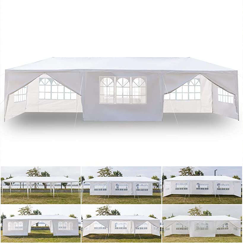 seelee Gazebo Canopy Tent with 8 Removable Sidewalls and 2 Doors Waterproof, 10x30ft Outdoor Patio Wedding Party Beach Shade BBQ Tent (US Stock)