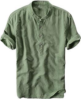 Men Fashion T-shirt Shirt, Male Summer Solid Casual Button Short Sleeve Quick Dry Top Blouse Tee Shirt Tunic Tops