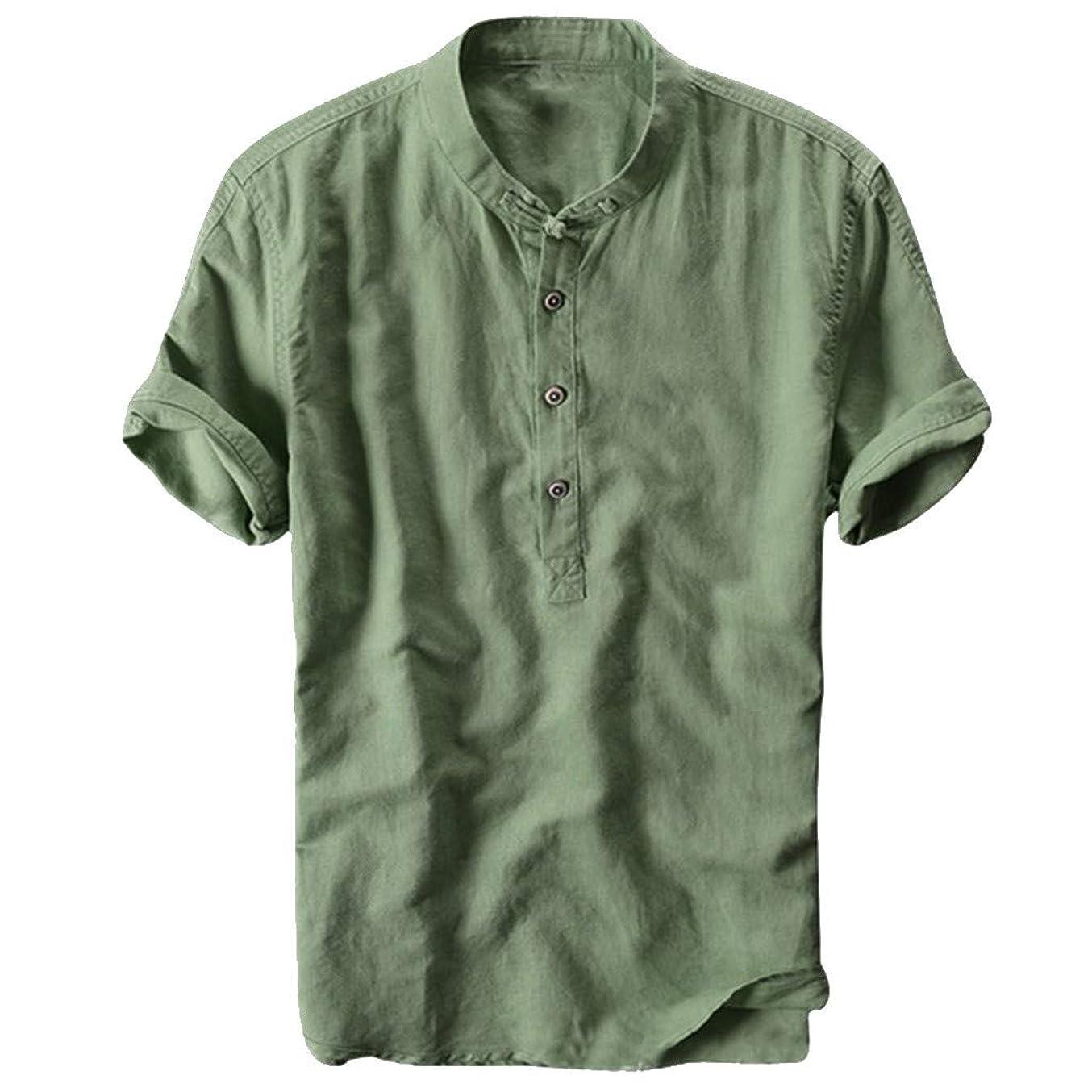 導出無意味音楽を聴くCharku 夏服 メンズ Tシャツ 半袖 Vネック 麻 夏 服 ボタン付き 軽い 柔らかい シルエット おしゃれ ファッション 人気 快適 薄手 麻 ストリート リンネル カジュアル シャツ ブラウス トップス カジュアル トップ シャツ 夏季対応