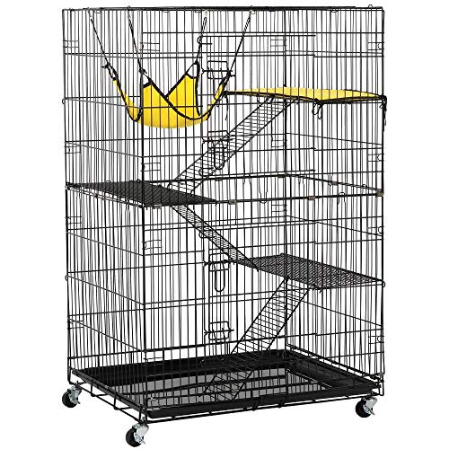 Topeakmart 4-Tier Foldable Kitten Cat Home Cages Wire Pet Crate House
