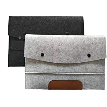 File folders-Felt Folder Expanding File Folder Portable Felt Holder documents Envelope Luxury Office Durable Briefcase Document Laptop Bag Paper Portfolio Case A4 Folders … (2pcs)