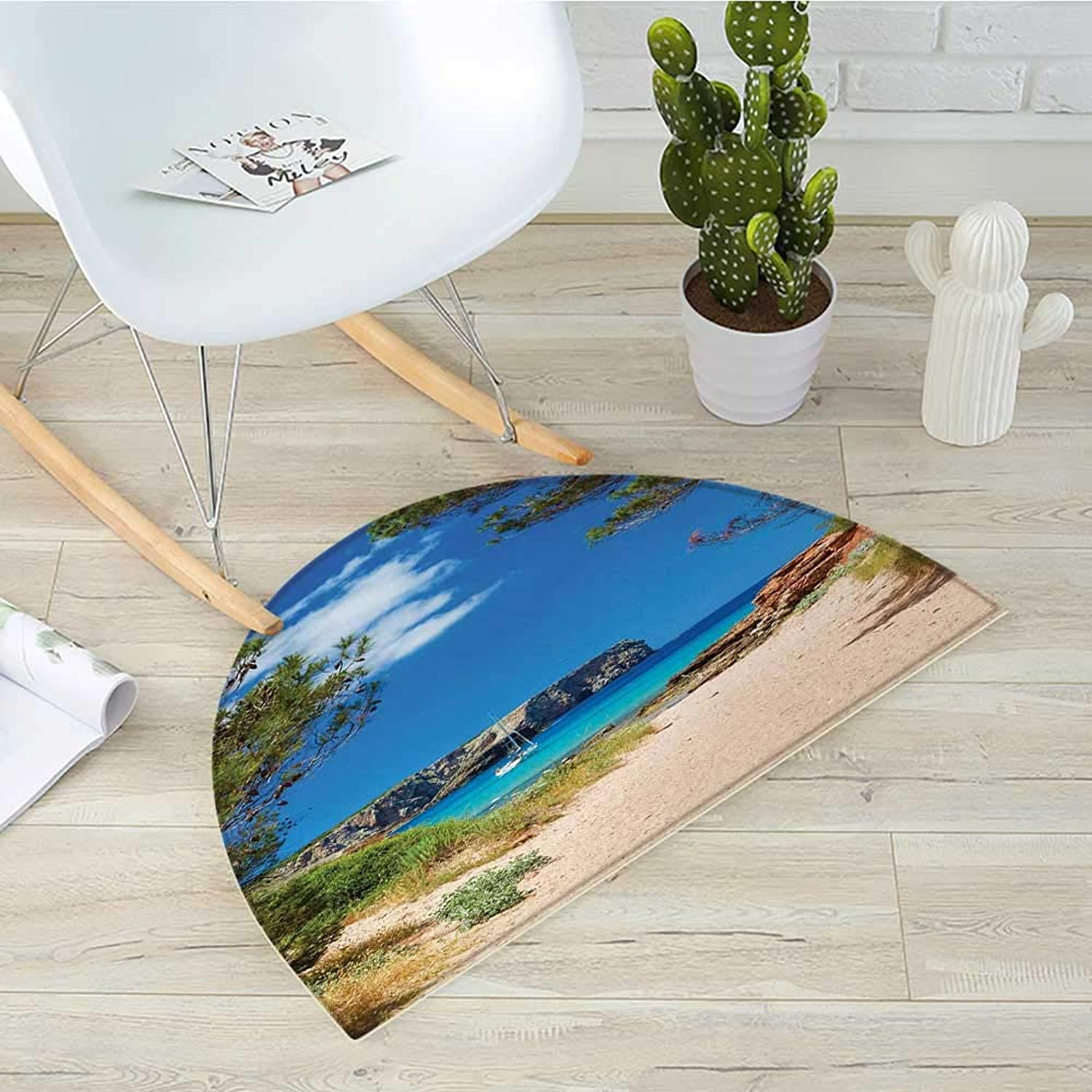 Beach Semicircular CushionView on Cala Algaiarens from Sand Pathway Cliff in Water Menorca Island Europe Theme Entry Door Mat H 35.4  xD 53.1  Multicolor