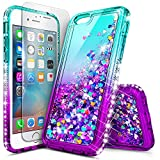 iPhone 5S Case, iPhone SE/5 Case with Tempered Glass Screen Protector for Girls Women Kids, NageBee Glitter Liquid Sparkle Bling Floating Waterfall Diamond Cute Case for iPhone 5/5S/SE -Aqua/Purple