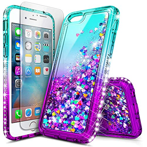 iPhone 6, iPhone 6S Case, iPhone 7/8 Case with Tempered Glass Screen Protector for Girls Women Kids, NageBee Glitter Liquid Sparkle Bling Floating Waterfall Shockproof Cute Case -Aqua/Purple