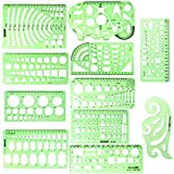 ipxead 11 Piece Geometric Drawing Template Measuring Ruler, Transparent Green Plastic Ruler with Portable Plastic Bag...