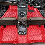 Dinuoda Alfombrillas de coche para BMW Serie 7 2004-2008 Full rodeado protección contra todo tipo de clima, antideslizante, impermeable y resistente al desgaste, alfombrillas de cuero (rojo)