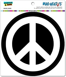 Peace Sign Symbol White Black - Circle MAG-NEATO'S™ Automotive Car Refrigerator Locker Vinyl Magnet