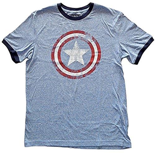 Captain America Star Shield Mens Ringer T-Shirt (Medium) Blue