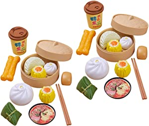 NUOBESTY 26pcs Dim Sum Toy Steamer Buns Chinese Breakfast Toy Pretend Play Kitchen Toy for Boys Girls