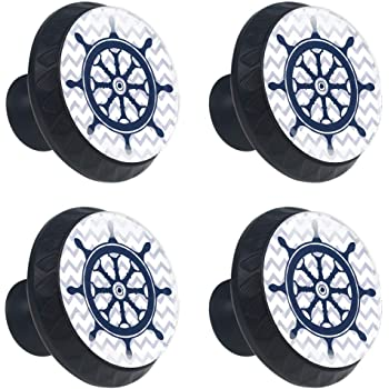 Drawers or Doors Ocean Compass Aquatic Ceramic Knob Pull for Cabinets Pack of 12 Shabby Restore i2a