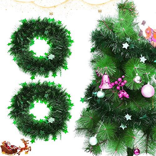 Metallische Girlanden, 2 x 2M Weihnachten Lametta Girlande,Festliches Weihnachten Lametta,Glitzernde Lametta Draht,Weihnachten Girlande Metallisch,Glänzend Weihnachtsbaum Ornamente Kamin Tür