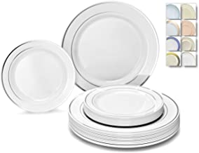 Best white plastic plates with silver rim Reviews