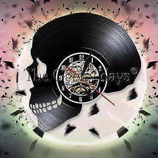 Skull Head Silhouette Shadow Wandklok Skull Head Vinyl Record Wandklok Skull Horror Death Bone Wandklok Halloween Gift 12 ...