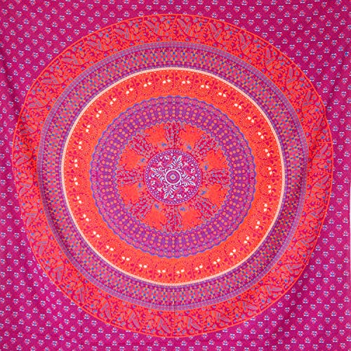 MOMOMUS Arazzo Mandala - Etnico - 100% Cotone, Grande, Multiuso - Pareo/Telo Mare Matrimoniale - Telo Arredo Copridivano/Copritutto - Telo da Parete XXL - 210x230 cm, Rosso e Arancio