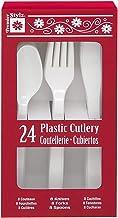 مجموعة أدوات فضية بلاستيكية بيضاء لـ 8 ضيوف (24 قطعة)