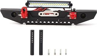 RC-bumper vervangen, RC-voorbumper, Duurzame metalen RC-voorbumper, RC-autobumperaccessoire, met LED-lichtbalk, voor TRX4 ...