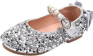 WINJIN Chaussures Filles Ballerines pour Fille Perle Paillette Dessin Mignon Enfant Chaussures Cuir Souple Unique Princess...