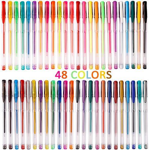 Bolígrafos de Gel, 48 Colores bolis para Colorear Niños y Adultos Scrapbooking Escritura Dibujo Colorear Dibujar Fiestas Diarios Manualidades Trabajos Notas de Oficina Escolares