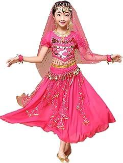 Niña Traje Danza del Vientre Lentejuelas Danza India Halloween Disfraz